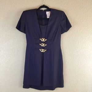 Scarlett navy gold hook detail vintage dress 3/4